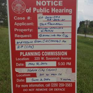 Notice of Public Hearing Sign, thanks to Barbara Stratton