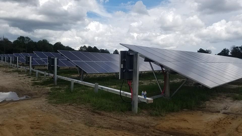 1280x720 Plastic bottles and solar panels, in Valdosta Solar Power on Val Tech Road, by John S. Quarterman, 1 September 2017