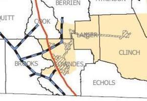 Lowndes, Berrien, Lanier, Clinch Counties, AGL Map