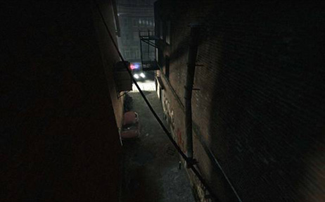 Players eyes are drawn towards the end of the alley with the light. A rather over example of this technique