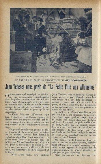 l'article sur La Petite fille aux allumettes paru dans Cinémagazine (1927)