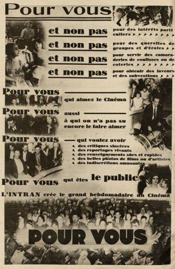 Publicité pour la revue Pour Vous (1928)