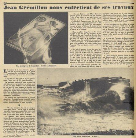 Article sur Jean Gremillon (Pour Vous 1929)