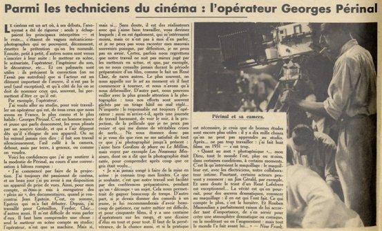 Georges Périnal dans Pour Vous 1932