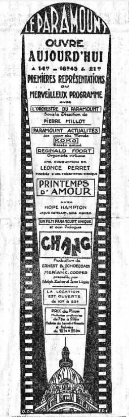 Publicité pour le Paramount (Le Temps du 26.11.27)