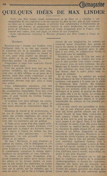 Cinémagazine du 28 novembre 1924