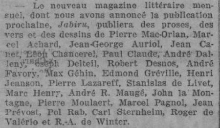 paru dans La Lanterne du 19 février 1926