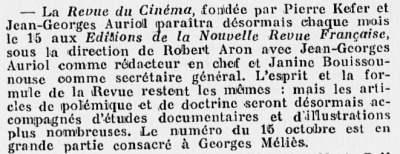 paru dans Comoedia 01 novembre 1929