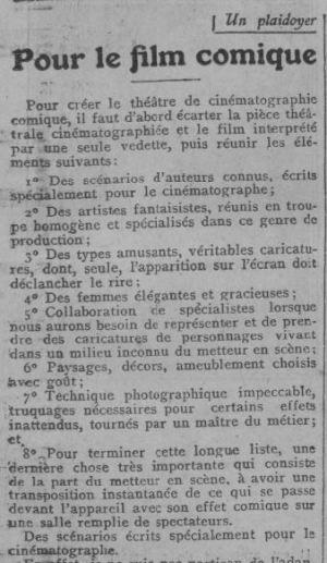 paru dans Comoedia du 4 mai 1923