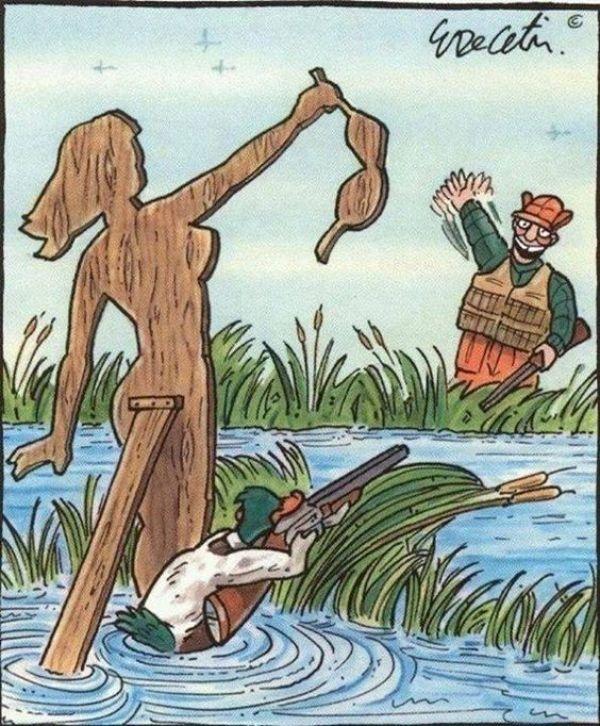 Illustration antispéciste de Eric Decetis inversant le rapport animal et humain. Ici, la chasse.