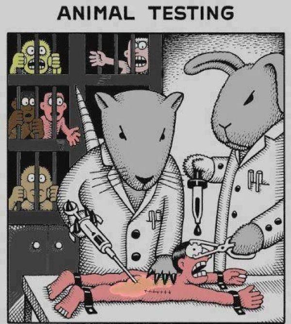 Illustration antispéciste de Ketika Di Dunia Paralel inversant le rapport animal et humain afin de changer la manière dont nous traitons les animaux non-humains.