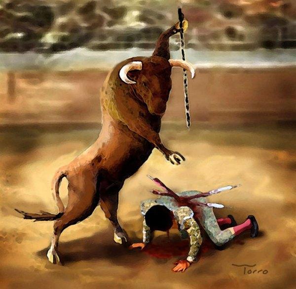 Illustration antispéciste de Vin Paneccasio inversant le rapport animal et humain afin de changer la manière dont nous traitons les animaux non-humains. La corrida n'a rien d'une tradition dont nous serions fière. La mise à mort ne peut jamais être artistique.