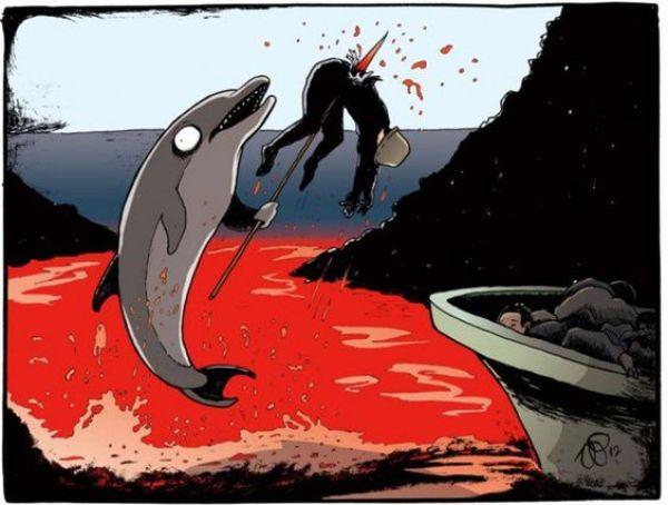 Illustration antispéciste de Vin Paneccasio inversant le rapport animal et humain afin de changer la manière dont nous traitons les animaux non-humains. Ici le massacre de dauphins ayant lieu chaque année sur la baie de Taiji et les îles Féroé et combattu par l'association Sea Sheperd.