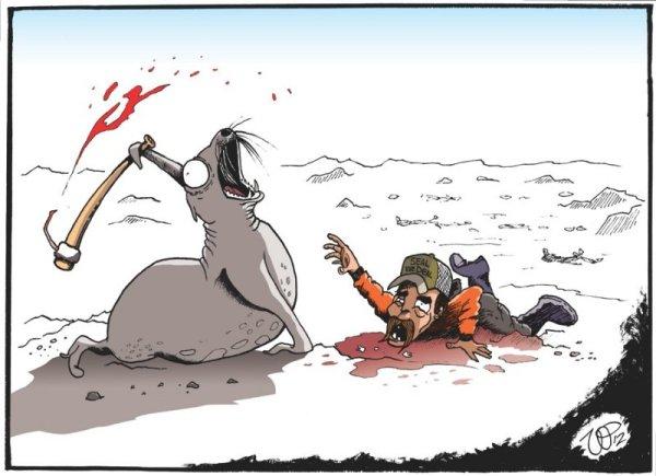 Illustration antispéciste de Vin Paneccasio inversant le rapport animal et humain afin de changer la manière dont nous traitons les animaux non-humains. Ici le massacre des phoques pour leurs fourrures.
