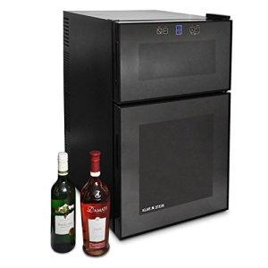 Klarstein MKS-3 • Cave à vin refrigérée • Minibar • 24 bouteilles • 68 L • Ecran tactile • Porte transparente • 2 parties avec température différente • noir