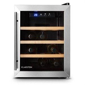 Klarstein Reserva 12 Uno 2019 Edition – Cave à vins, 33 litres,9 bouteilles, 3 étagères amovibles, Éclairage LED, Température réglable,11 à 18 °C, Porte en verre double, Noir-Argent
