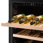 Klarstein Gran Reserva Cave à vin réfrigérée (2 zones, 379 litres, 166 bouteilles, classe énergétique B, LED, 5-20°C, sept étagères en bois , inox)