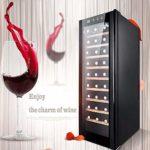 Écran LED tactile Cave à vin, bouteilles de vin 27-30 Ensemble réfrigérateur / autoportant vin Réfrigérateur, cave à cigares, 360 degrés;température constante moisturizing- refroidisseur de vin Mute Y