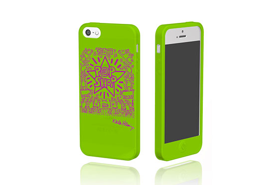 Coque iPhone 5/5S/SE Keith Haring Collection Pop Shop (Vert et Violet)