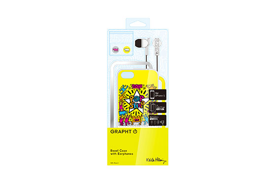 Coque iPhone 5 Keith Haring Collection Pop Shop et Ecouteurs Jaunes