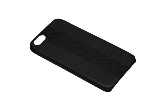 Coque iPhone 5/5s/SE Shrunkencalf avec bande Crocodile (Noir/ Noir)