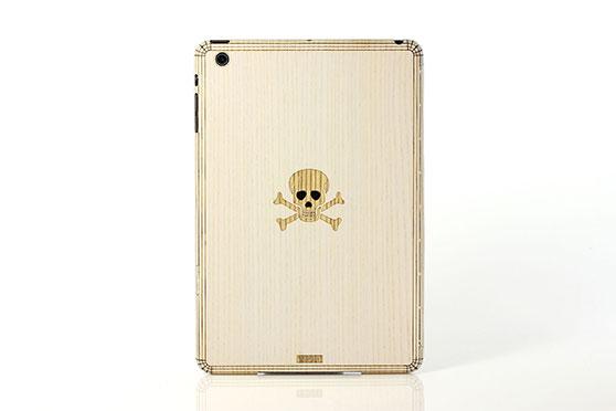 Sticker iPad Mini en bois Tête de Mort (Frêne)