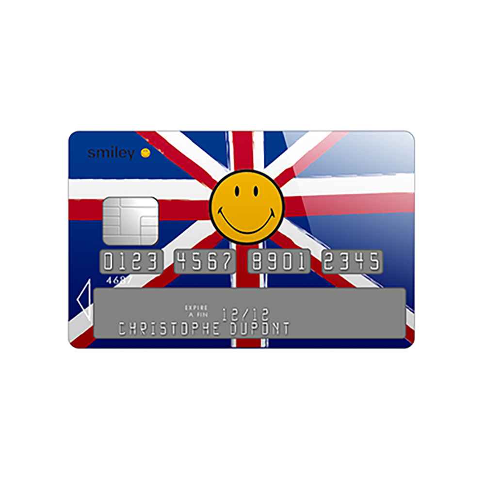Sticker carte bleue Smiley British
