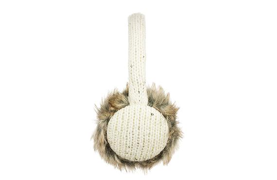 Casque Audio Cache-Oreilles Maille et Fourrure KitSound (Beige)