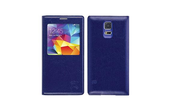 Coque à rabat fenêtre XtremeMac Galaxy S5 (Bleu)