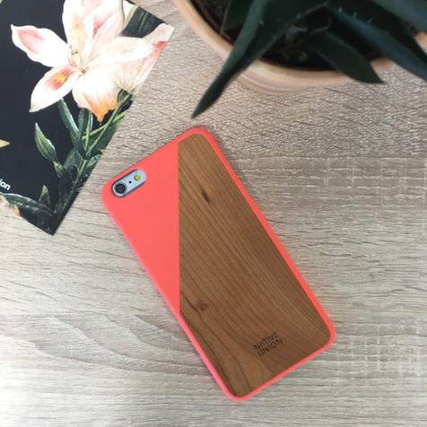 Coque Clic Wooden iPhone 6+/6s+ Native Union (Corail/Merisier)