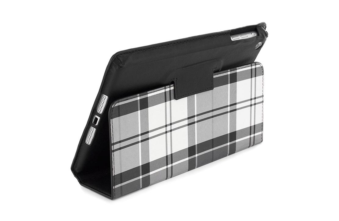 Housse pour iPad Mini noire tartan gris et blanc Barbour