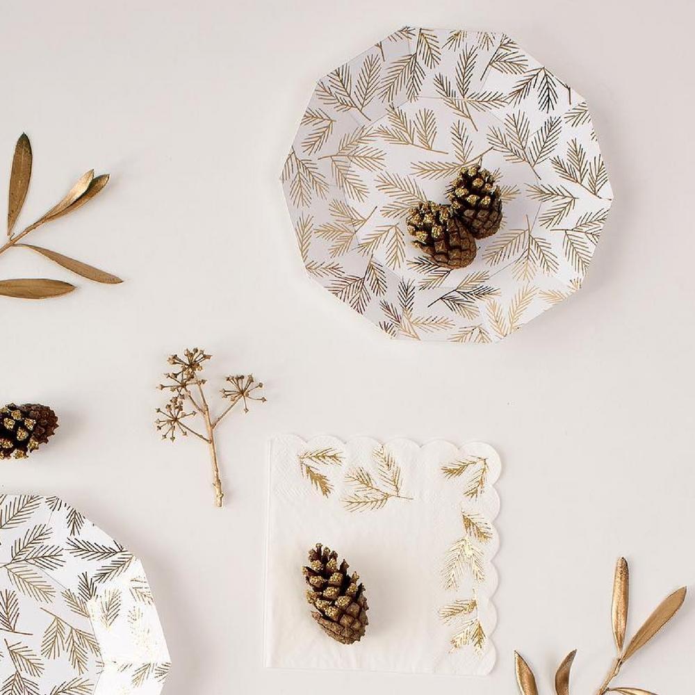 8 petites assiettes jetables en carton brindilles dorées Meri Meri