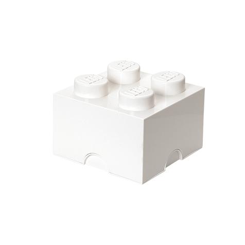 Boite de rangement empilable 4 plots blanche Lego