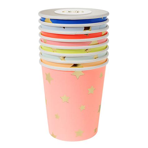 8 gobelets jetables en carton Etoiles multicolores Meri Meri