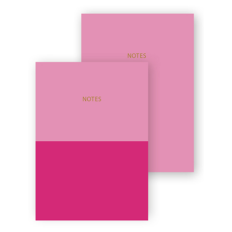 Set de 2 cahiers A6 Colourblock rose fushia Go Stationery