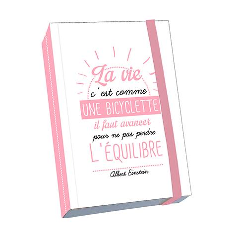 Notebook A6 Citation « La vie c'est comme une bicyclette » Kiub