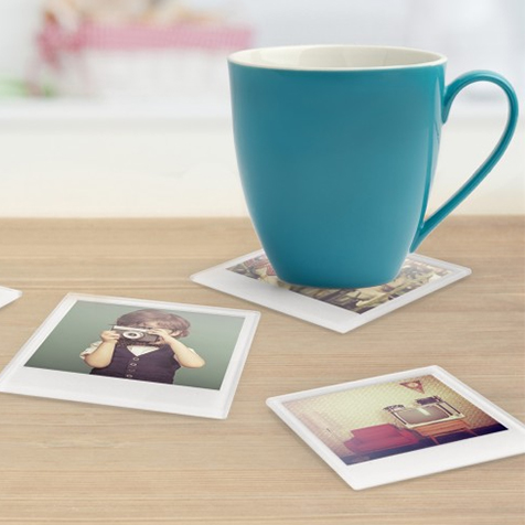Ensemble de 4 dessous de verre Photo Polaroïd Just Mustard