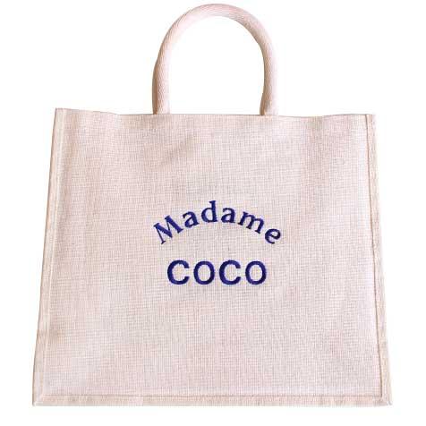 Sac jute blanc Madame Coco broderie bleu Improbables