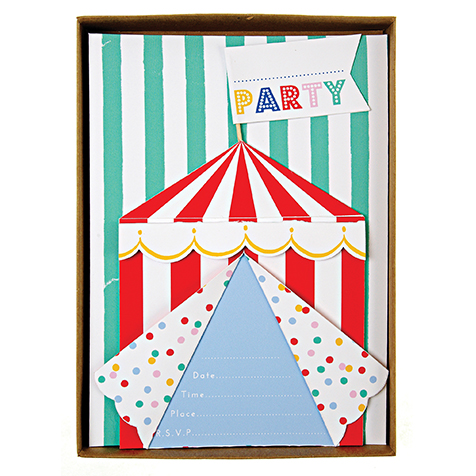 8 invitations et enveloppes Silly Circus Meri Meri