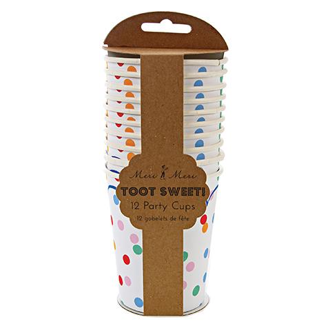 12 gobelets Toot Sweet à pois multicolores Meri Meri