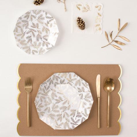 8 grandes assiettes jetables en carton brindilles dorées Meri Meri