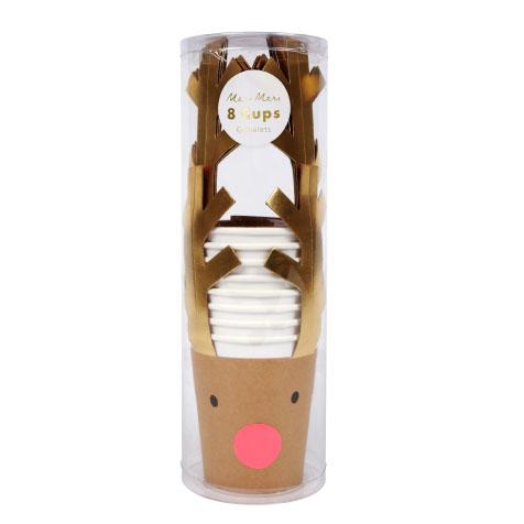 8 gobelets jetables en carton avec étuis Renne Meri Meri