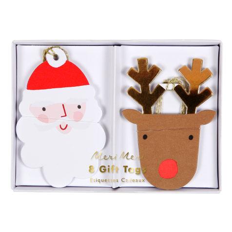 8 étiquettes cadeaux Père Noël et Renne Meri Meri