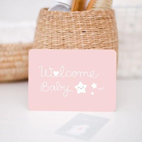 Carte welcome baby rose Zü