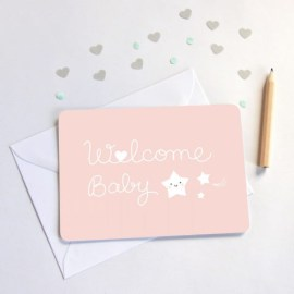 Carte welcome baby rose Zü
