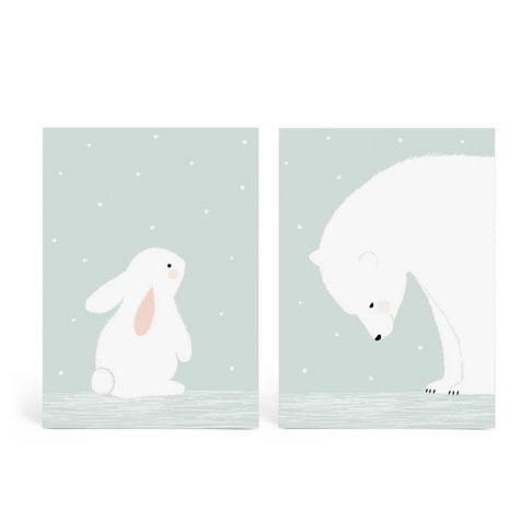 Lot de 2 cartes postales «Together» bleu Zü