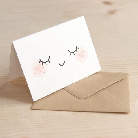 Lot de 5 cartes postales doubles Sleep blanc Zü