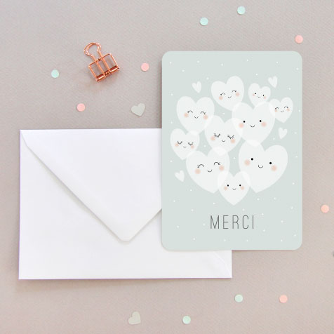 Carte postale merci cœurs vert Zü