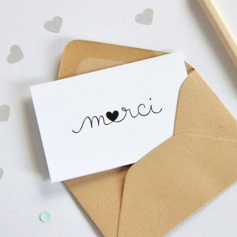 Mini carte postale Merci Coeur blanc Zü