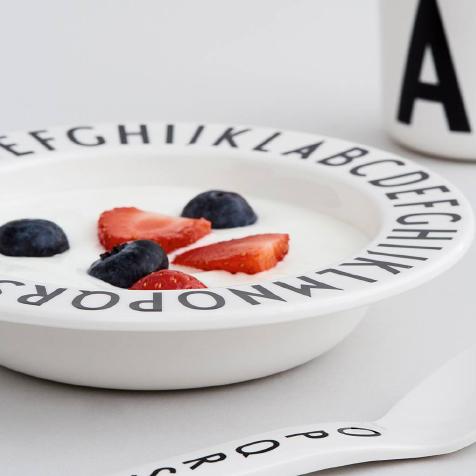 Assiette creuse 17 cm en mélamine AJ blanc Design Letters